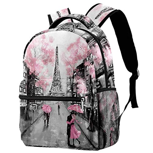 Laptop Backpacks Personality Travel Daypack with Bottle Side Pockets Gray Pink Oil Painting Paris