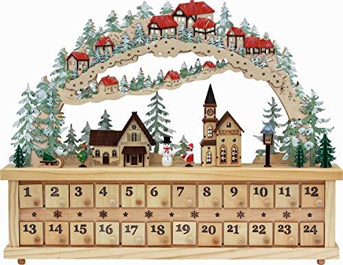 yanka-style LED Weihnachtskalender Adventskalender Kalender aus Holz mit 25 LED ca. 59 cm breit mit beleuchteten Gebäuden und Laternen Weihnachten Advent Geschenk (84117)