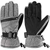 Fazitrip Men's Ski Gloves, 3M Thinsulate Winter Snow Warm Insulated Gloves Windproof Waterproof Gloves for Skiing, Snowboarding and Snowmobile