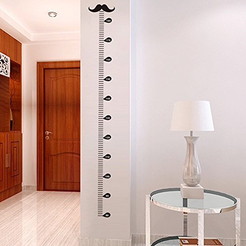 Winhappyhome Moustache Children Height Sticker Growth Measurement Wall Art Stickers for Kids Room Living Room Nursery Background Removable Decor Decals