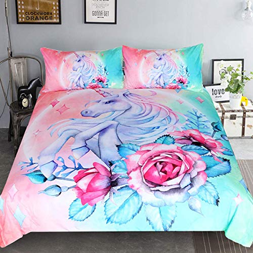 Sleepwish Unicorn Bedding Teen Magical Horse Rose Bedspreads 3 Piece Rose Pink Blue Bedding Unicorn Lovers Bedding Duvet Doona Cover Set (Full)