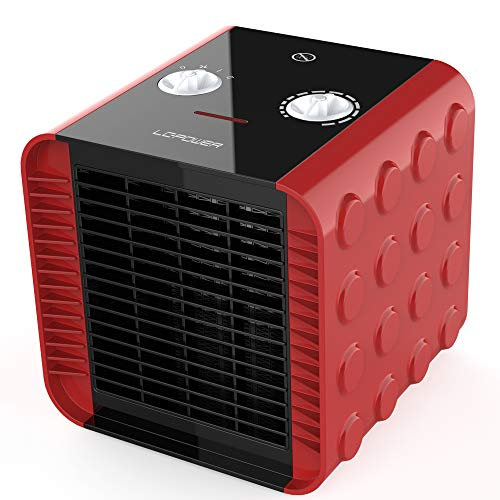LCPOWER Space Heater,Portable Electric Space Heater with Adjustable Thermostat,Overheat and Tip-Over Protection,Ceramic Small Heater for Office,Home(Red,750W/1500W) Ceramic Heater Space