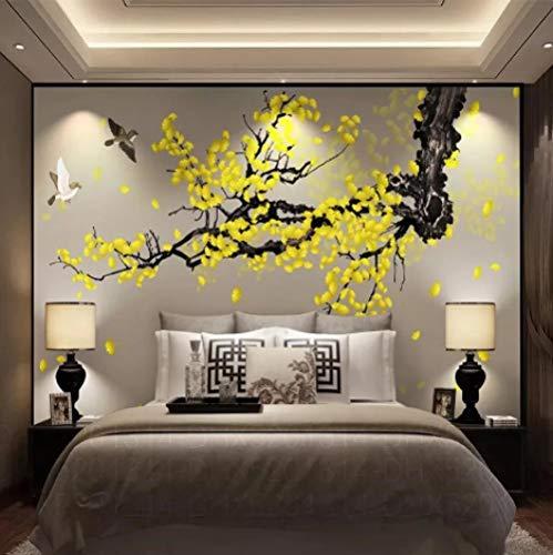 Fototapete Wandbild Hintergrund 3d TapetenBenutzerdefinierte WandtuchHandbemalte Ginkgo Pen Blumen und Vögel Chinesische Wandtapete Wohnzimmer TV Home Wasserdichte Dekoration-Über 250 * 175 cm