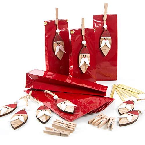 Logbuch-Verlag 9 Sinterklaas zakken - rode geschenktasjes met Sinterklaas - Verpakking Kerstmis bonbons