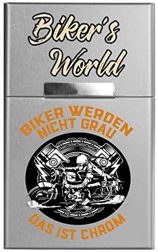 Leichtes Zigaretten ETUI aus Aluminium mit Magnetverschluss - für 20 Standard-Zigaretten - Biker´s World - Biker Werden Nicht grau, das ist Chrom