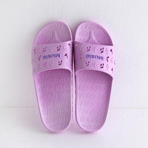 fankou Zapatillas de Mujer Cool Verano Viaje Interior y Exterior Gruesa Inicio Adultos Zapatillas de Baño,35-36, Purple Music