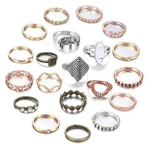 UBGICIG 15-20 Pcs Vintage Knuckle Rings Set Stackable Finger Rings Midi Rings for Women Bohemian Hollow Carved Flowers Gold&Silver Rings Crystal Joint Rings(20Pcs)