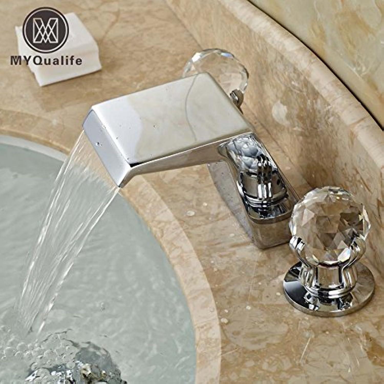 Retro Deluxe Fauceting neu Deck Mount verbreitet 3 Lcher Badezimmer Waschtisch Armatur Armatur Waschtisch Armatur Dual Griff in Chrom Tippen
