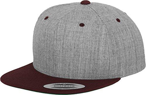 Yupoong Flexfit Unisex Kappe Classic Snapback 2-Tone, zweifarbige blanko Cap mit geradem Schirm, One Size Einheitsgröße für Männer und Frauen, Farbe h.grey/maroon