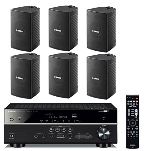 Yamaha 7.2-Channel Wireless Bluetooth 4K Network A/V Wi-Fi Home Theater Receiver + Yamaha High-Performance Natural Surround Sound 2-Way Indoor/Outdoor Weatherproof Speaker System (Set of 6)