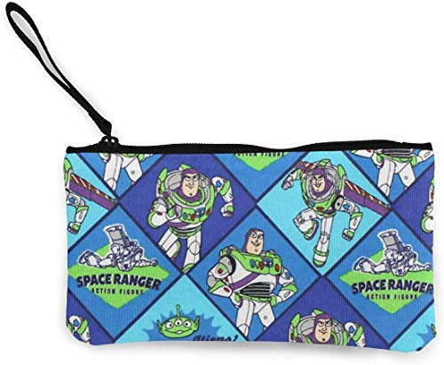 Yuanmeiju Pixar Buzz Lightyear Flannel Multi Fabric Small Monedero Canvas Wallet Zipper Monedero Small Zipper Bag