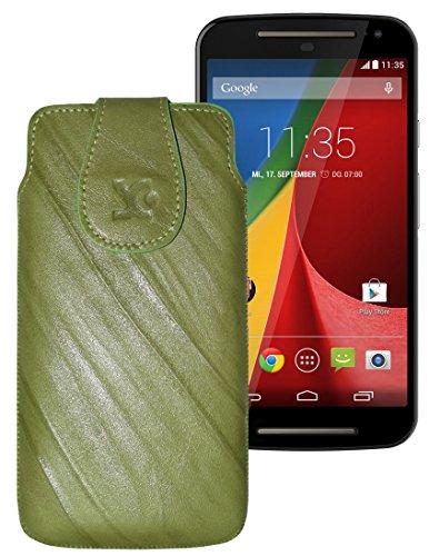 Original Suncase Tasche für / Motorola Moto X 2014 (2. Generation) / Leder Etui Handytasche Ledertasche Schutzhülle Hülle Hülle / in wash-grün