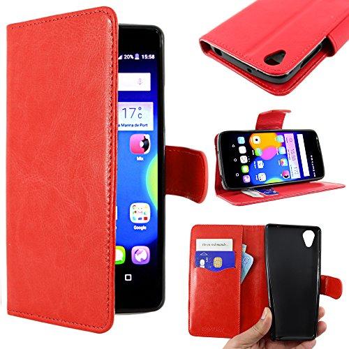 ebestStar - kompatibel mit Alcatel Idol 3 Hülle Idol 3 5.5 Kunstleder Wallet Case Handyhülle [PU Leder], Kartenfächern, Standfunktion, Rot [Idol 3: 152.7 x 75.1 x 7.4mm, 5.4'']