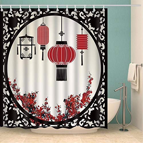 hysxm Chinesische Duschvorhang-Laternen Mit R&er Verzierter Abbildung Grafischer Polyester-Gewebe-Wohnzimmer-Vorhängen-180(H)*180(W) cm