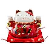 Maneki Neko Porcelana Gato de la Suerte Afortunado Gato Caja de Dinero Lucky bendición Lucky Cat Piggy Bank L12*W9*H10cm,Red