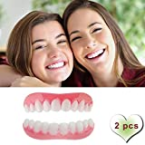 ISCTKZDPC Snap on Smile Temporary Cosmetic Teeth Veneers Covers for Bad Missing Teeth 2Pcs False Tooth Top and Bottom