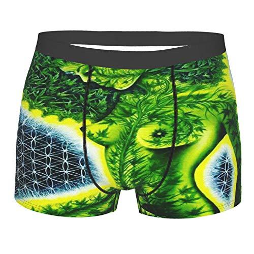 Sexy Beauty Afro Green Weed Leaf Herren Boxershorts Allover Print Unterwäsche Atmungsaktiv Stretch Trunk Gr. M, Schwarz