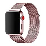 Stainless Steel Magnetic Absorption Strap for Apple Watch Metal Mesh Quick Release Wristband Sport Loop Compatible for Apple Watch Series 6/SE/5/4/3/2/1 (Pink, 42mm/44mm)