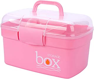 Kinsorcai Plastic Storage Box with Removable Tray, Multipurpose Organizer and Storage Case for Art Craft and Cosmetic (Pink)