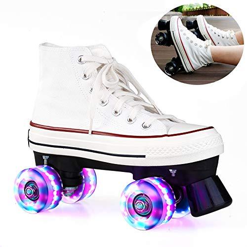 WING Discoroller Erwachsene, LED Rollschuhe für Damen und Herren, Outdoor Quad-Skates Rollerskates für Mädchen und Jungen,Weiß,39
