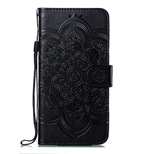Karomenic PU Leder Hülle kompatibel mit Samsung Galaxy A50 Sonnenblumen Mandala Prägung Handyhülle Brieftasche Silikon Schutzhülle Klapphülle Ledertasche Ständer Wallet Flip Case Schale,Schwarz