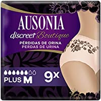 Ausonia Discreet Boutique, Braguitas para pérdidas de orina, M negras, bloquean el olor y la humedad y evitan fugas x 9