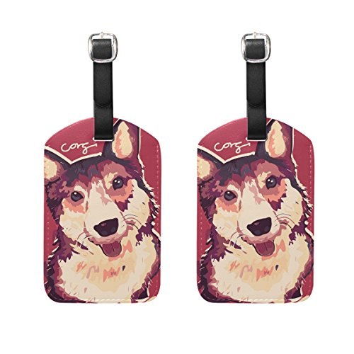 COOSUN Corgi Dog Painting Luggage Tags Travel Labels Tag Name Card Holder for Baggage Suitcase Bag Backpacks, 2 PCS