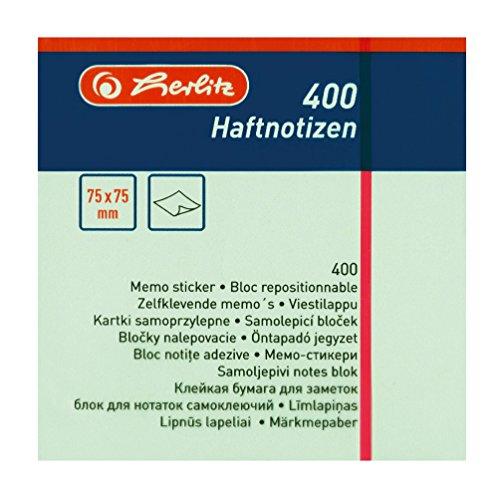 Herlitz Haftnotizblock, 400 Blatt, 1 Stück, eingeschweißt, 75 x 75 mm, pastell blau / grün / rosa / gelb