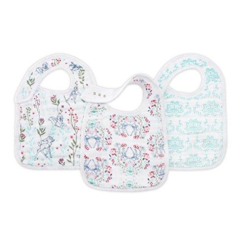 aden + anais Disney Baby Bambi, Lätzchen mit Druckknöpfen, Musselin aus 100% Baumwolle, 22cm X 30cm, 3er Pack
