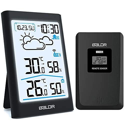 BETECK Estación meteorológica Inalámbrica, Termometro Higrometro Digital con Sensor inalámbrico Externo, Gran Pantalla táctil LCD, Monitor de Temperatura y Humedad, Fases de la Luna