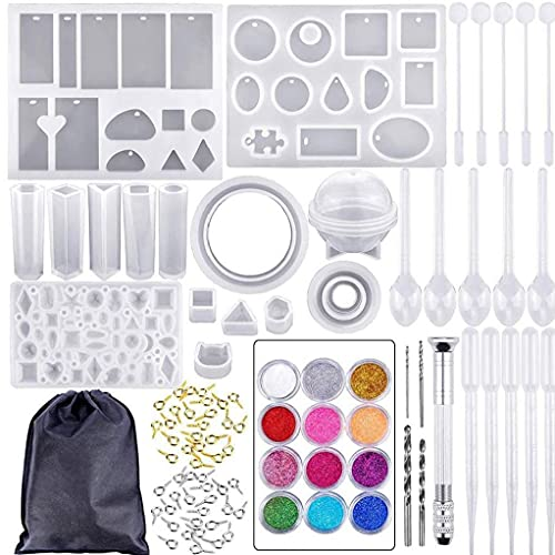 NiceJoy Resin Casting Mold Kit Diy Jewelry Earrings Making Craft Moulds Set Silicone Resin Molds Tools for Diy Beginners 94pcs