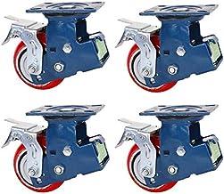 Zwaar uitgevoerde zwenkwielen, 5/6/8 inch dubbele veer, dubbele lagers, schokabsorberende zwenkwielen, rode hoogelastische...