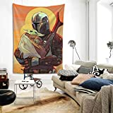 Baby Yod_a Tapestry Man_dalorian Tapestry TV Series Wall Tapestry for Party Bedroom Decor 60x40in