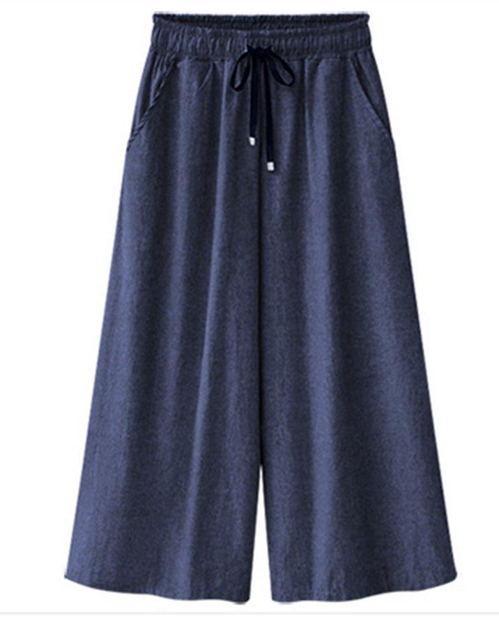法贝莱 2018欧美女装新款时尚大码纯色阔腿裤女薄款百搭休闲松紧腰显瘦牛仔裤9200