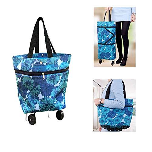 todaytop Zusammenklappbare Trolley-Taschen, zusammenklappbare Einkaufstasche mit Rädern, Wiederverwendbare Einkaufstüten Rollende Einkaufstasche Einkaufstasche auf Rädern (Blau)