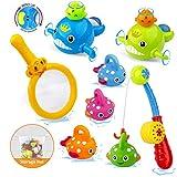 Tintec Juguetes de Baño Bebe, Kit Juegos Agua de Pescar Bañera, 8 Piezas Juegos Peces Piscina de Animal Marino Cuerda para Bebé con Malla de Baño