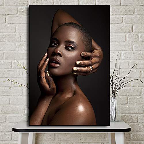 Olieverf canvas achtergrond muur opknoping Zwart Goud Naakt Afrikaanse Vrouw Geschikt voor woonkamer in galerij kamer met loopbrug trappen