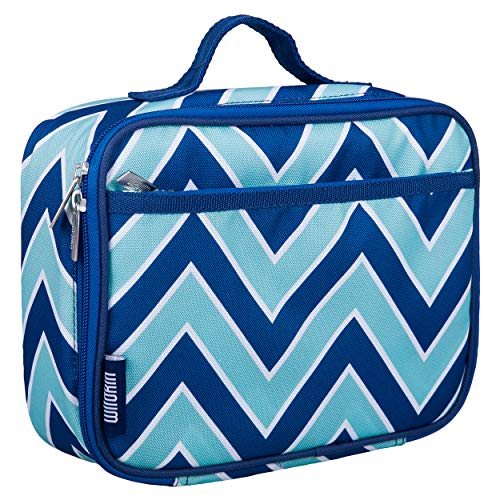 Wildkin Kids Insulated Lunch Box Bag for Boys and Girls, Perfect Size for Packing Hot or Cold Snacks for School & Travel, Measures 9.75 x 7.5 x 3.25 Inches, Mom's Choice Award Winner (Chevron Blue)