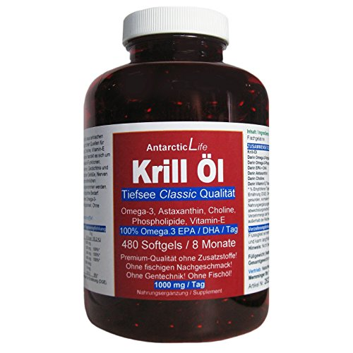 Krillöl 480 Softgels = 8 Monate/1000mg/Tag AntarcticLife Tiefsee Classic. Omega 3 Fettsäuren, Phospholipide, Cholin, Astaxanthin, Vitamin-E. Premium Qualität OHNE Fischöl OHNE Zusatzstoffe. 26238