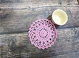 YIBING 10CM Ronda de Encaje de algodón Mantel Individual Crochet Mantel Individual Posavasos de Tela Taza de té Taza de café Esteras de Mesa Decoración para el hogar, Rosa