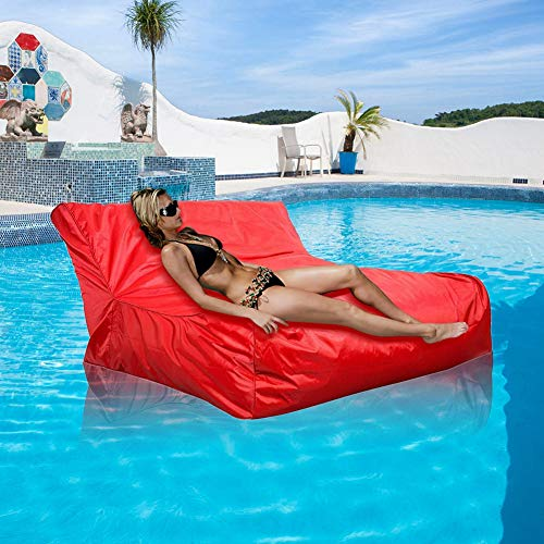 Bean Bag Cover, Waterproof Floating Swimming Pool Floats Bean Bags Cover Relaxing Soft Lounge Chair Cover for Indoor or Outdoor Use(Beans NOT Included)(Red)