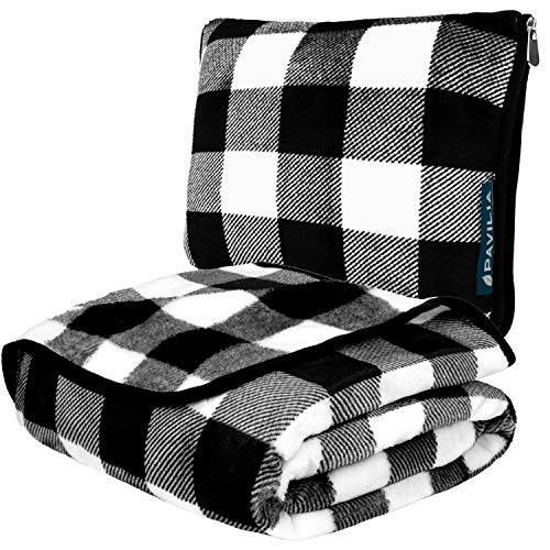 PAVILIA Travel Blanket and Pillow | Warm Soft Fleece 2-in-1 Combo Blanket for Airplane, Camping, Car Trips | Large Compact Blanket Set with Luggage Strap & Backpack Clip, 60 x 43 (Checker White)