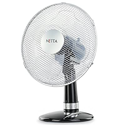 NETTA Electric Desk Fan 12 Inch,3-Speed Oscillating Quiet Cooling Table Fan – 40W Black/Silve