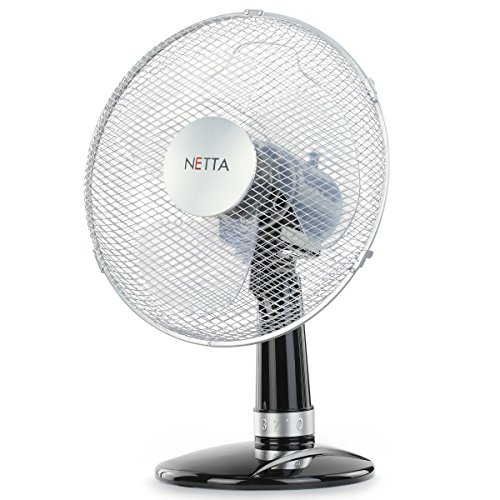 NETTA Electric Desk Fan 12 Inch,3-Speed Oscillating Quiet Cooling...