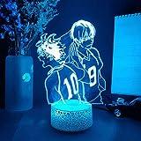 H_aikyuu Luz nocturna 3D Ilusión Anime Voleibol Niño Carácter Lámpara con Control Remoto USB Luces LED