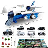 Bimonk Police Car Toy Set with Airplane, Educational Vehicles and Inertia Wheel Airplane Toys for 3 4 5 6 Years Old Boys, Toddlers, Kids, 6 Cars, 11 Road Signs, 1 Cargo Airplane, 1 Play Mat