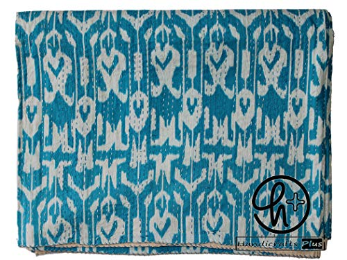Handicrafts Plus King Size Cotton Kantha Quilt Turquoise Blue Bedspread Home Decorative Ralli Bedding Indian Handmade Throw Ikat Print Coverlet Bohemian Gudari 90x108 Inch
