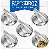 74007733 (5-Pack) Cooktop Knobs by PartsBroz - Compatible with Whirlpool Stoves - Replaces WP7733P410-60, AP6011505, 7733P410-60, PS11744702, WP7733P410-60VP