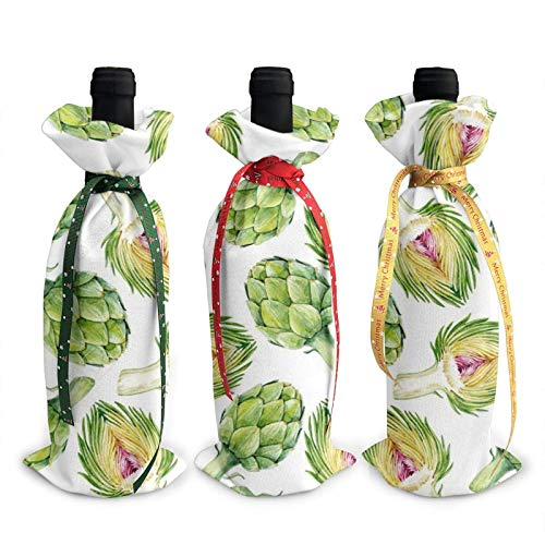 3 sacchetti per bottiglie di vino, borsa natalizia con carciofi per matrimoni, bomboniere, articoli per feste natalizie, feste e vino