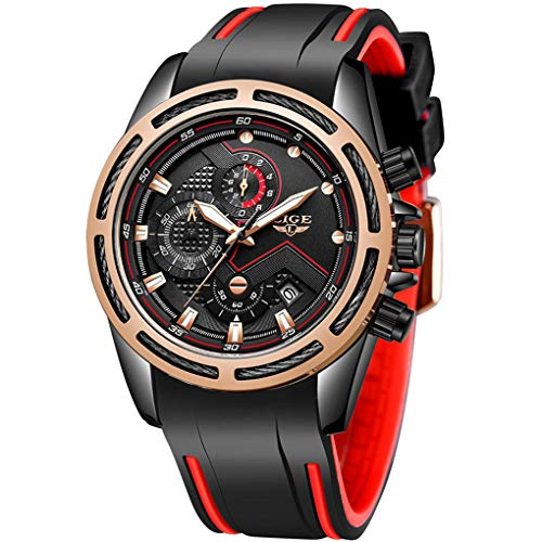 LIGE Men's Watch Elegant Beautiful Modern Waterproof Analog Quartz Watch Men Fashion...